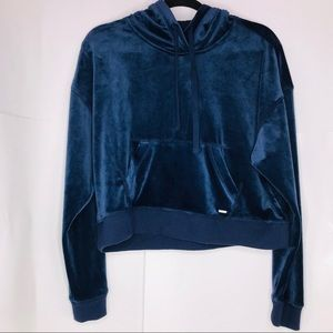 Hollister   Velvet Boxy Hoodie Cropped Sweater
